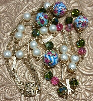 Vintage Antique Venetian Crystal Glass Bead Two Strand Necklace