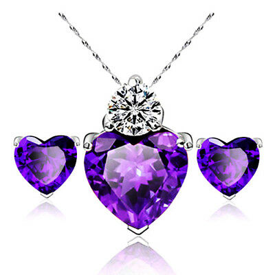 White Gold Plated Purple Heart Necklace and Earring Set -UK SELLER-