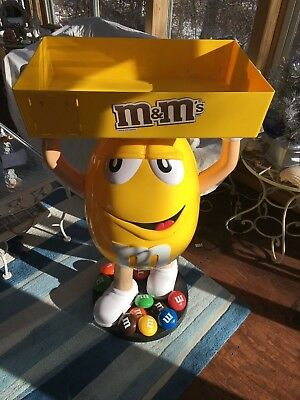 Yellow M&M Candy STORE DISPLAY Tray Excellent Condition 3 Foot Tall on Casters
