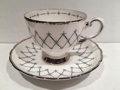 Tuscan Tea Cup and Saucer- White, Silver Triangles with Turquoise Dots