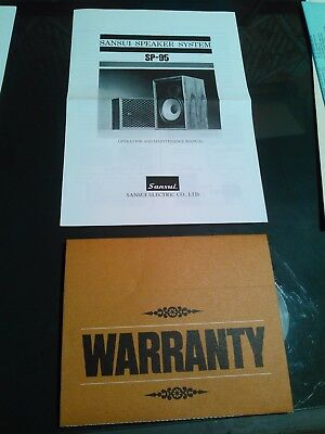 Sansui SP-95 speaker ad paper warranty paperwork instructions info advertisement