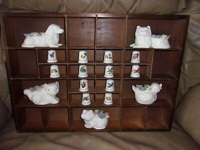 Vintage Small Wooden Wall Hanging Shelf Curio Cabinet with Figurines