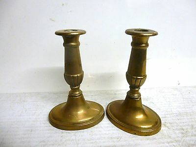 A Small Pair of Brass Candlesticks - 19th Century - Oval Bases