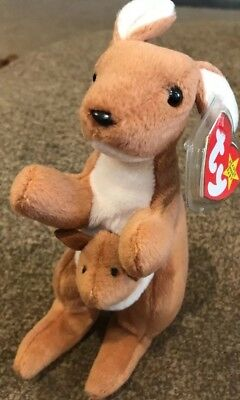 Ty Beanie Baby Pouch The Kangaroo Stuffed Animal Toy Mint