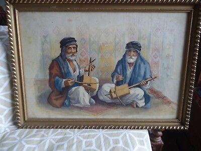 Vintage Original Watercolor Art Painting man play Beduin Arab Muslim