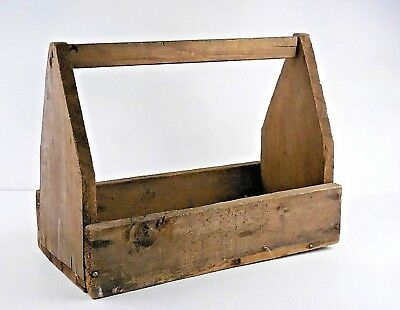 Antique Vintage Wooden Tool Tote Box Carrier Caddy Rustic Primitive Hand-Made