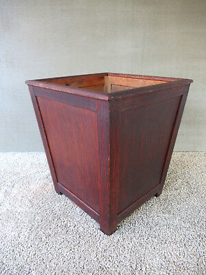 "Vintage Trash Can Waste Basket Footed Square Oak/Ash Wood 14"" Tall, Clean"
