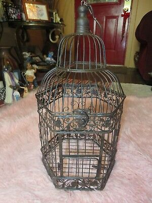 Antique Rustic Decorative Heavy Wrought Cast Iron Metal Black Dome Bird Cage 21