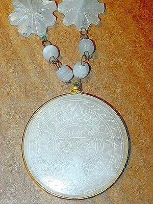 Necklace, Vintage Mexican Onyx Hand-Carved Beads Aztec-design 26""