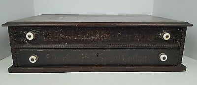 George A Clark Sole Agent Spool Cotton Thread 2 Drawer General Store Cabinet