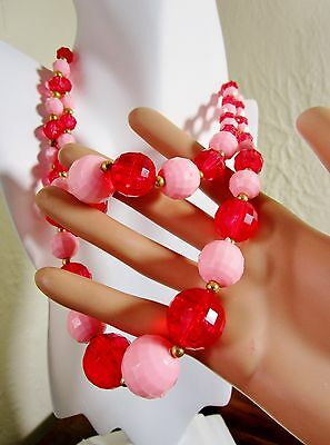 Vintage Trifari T Tag 1950's Red & Pink Multi Faceted Strands Large Beads Retro