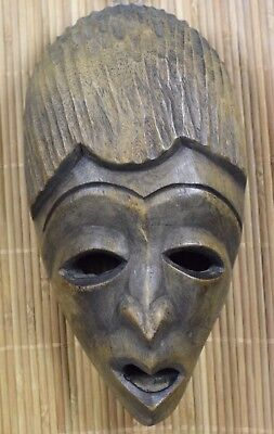 Vintage Haiti Hand Carved Hard Wood Wooden  Face Mask Wall Hanging Sculpture