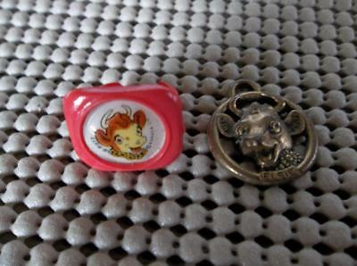 Vtg Borden's ELSIE the Cow Plastic Ring 50's& Charm/Tag Key Chain Dairy Promos
