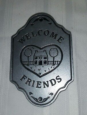 Vintage Pewter Welcome Friends Door Knocker Metal Heart House Plaque