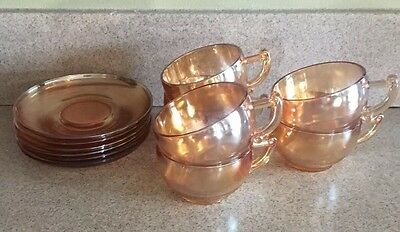 6 Jeannette Or Indiana Glass MarigoldCups/saucers EUC Iridescent  Cups Carnival