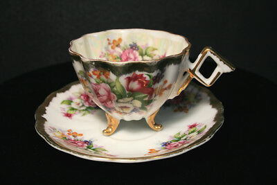 Napco Bone China Tri-Footed Cup Saucer Pink Purple Roses with Heavy Gold IDD180