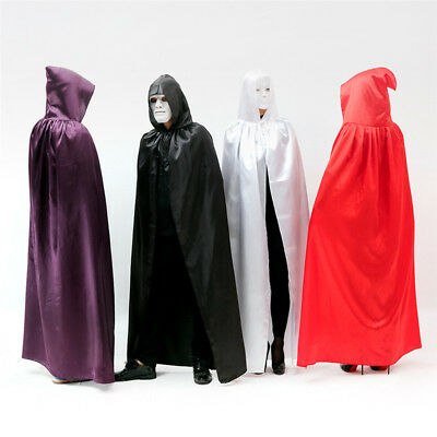 Halloween Hooded Cloak Robe Medieval Witchcraft Long Cloak Cape Costume Cosplay