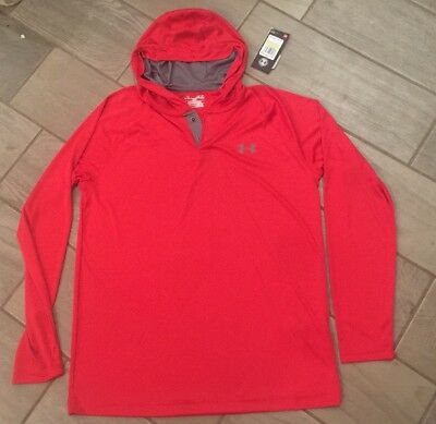 NWT Mens M Under Armour RED Tech Popover Henley Training Hoodie Shirt 1291313