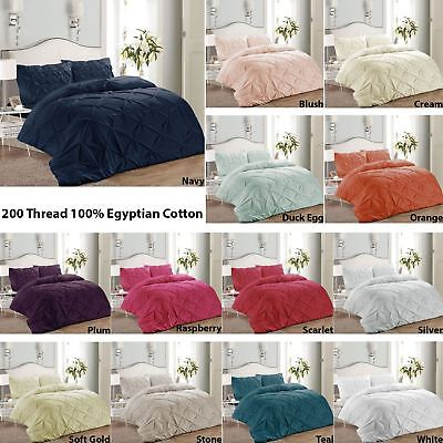 Luxury Pure 100% Cotton 200 Thread Pinch Pleat Pintuck Puckering Duvet Cover Set