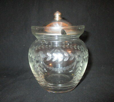 vintage etched glass mustard pot with sterling lid by Webster