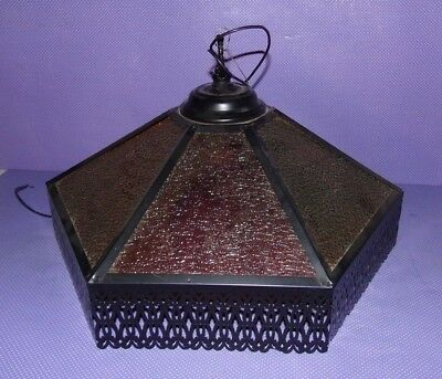 Vtg NOS Textured Stained Glass Ceiling Light Fixture Swag Lamp Filigree Metal