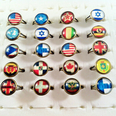 "20pcs mixed RINGS - ""APOCALPYSE STYLE FLAG"" glass cabochon - wholesale jewellery"