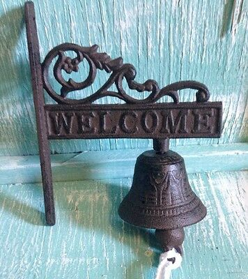 Welcome Door Bell Wall Mount Cast Iron Rustic Vintage Old Fashion New 7x6 inch