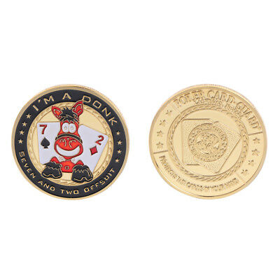 Golden Funny Poker Seven Two Commemorative Coin Souvenir Art Collection Gift
