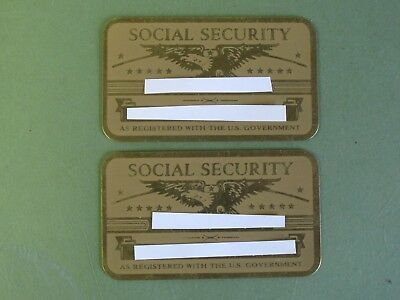 Two Vintage Brass Original Social Security Cards-Owned by Twins w/Consecutive #s
