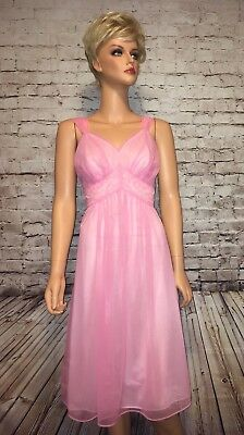 Volup Vintage 1960's Vanity Fair Hot Pink Gown Chiffon Lingerie Negligee Size 38