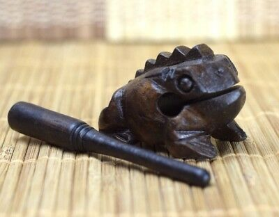 Vintage Wooden Handcraft Frog Croaking Sound With Stick