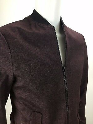 Topman Men's Burgundy & Black Zip Front Bomber Jacket Size 38 (Fit to chest) Med