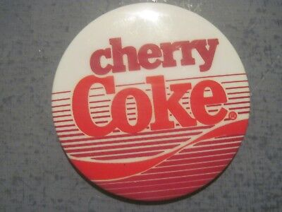 Cherry Coke Advertising Button  Red And White 2.5 Inch Pin Back Button