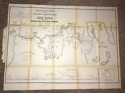 1866 Map Route for Construction Ship Canal Between Atlantic and Pacific San Blas