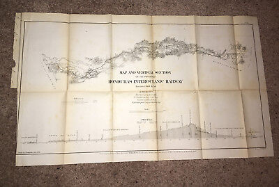 1866 Map of Proposed Honduras Interoceanic Railway Located 1857