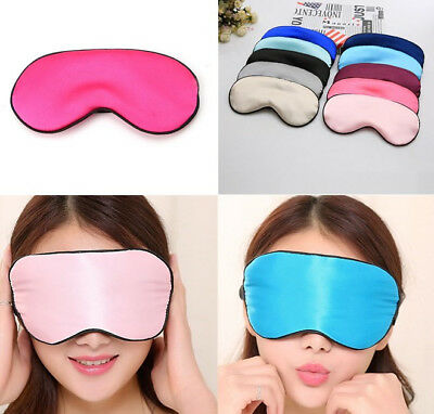 Pure Silk Sleep Eye Mask Padded Shade Cover Travel Relax Aid Blindfold Colorful
