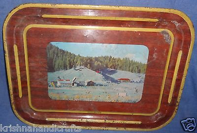 Vintage Old Collectible Sign Painting Heavy Iron Tray Modern Deluxe