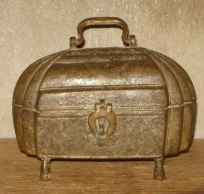 Vintage Old Very Rare Early Period Brass Box With Carving