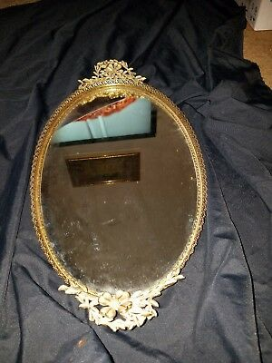 "VTG Large 21"" Oval Ornate Gold tone MIRRORED VANITY DRESSER TRAY..ELEGANT"