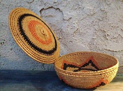 Hausa People African Basket W/ Lid & Star, Nigeria, Coiled Woven Sweetgrass