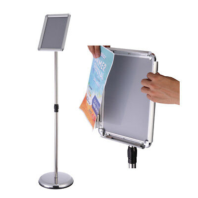 Silver A3 Pedestal Sign Holder Floor Stand Adjustable with Telescoping Post