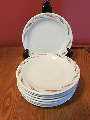 "8 Homer Laughlin China restaurant ware side plates 6.5"" white w tan leaf  leaves"