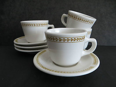 4 sets of Homer Laughlin Cups/ Saucers white gold border vintage restaurant ware