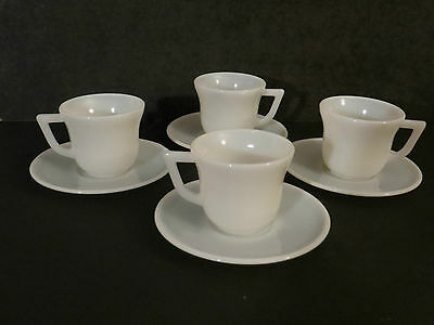 Milk Glass Child's Play Dishes Cups & Saucers 8 pieces