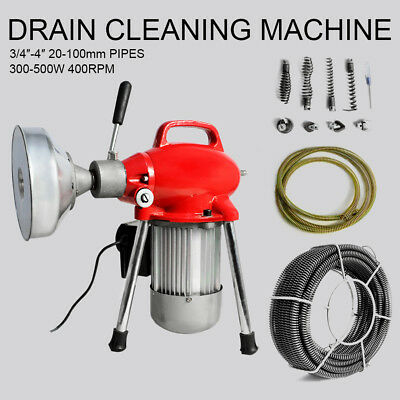 "3/4""~4"" Sectional Pipe Drain Cleaning Machine Snake Cleaner Pipeline Dredger New"