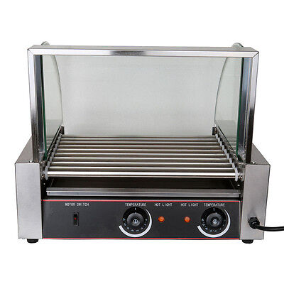 1260w Portable Stainless 24 Hot Dog 9 Roller Grilling Machine w/ Cover