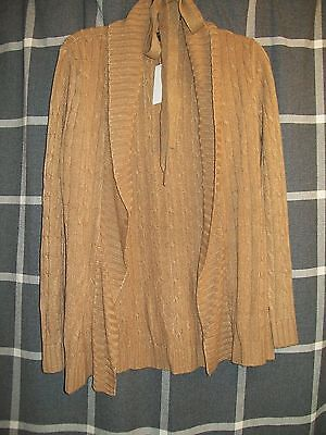 szM new york & company camel mixed stitch cable knit belted long sleeve cardigan