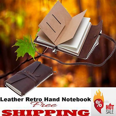 Retro Classic Leather Blank Handmade Travel Journal Diary Notebook Sketchbook AU