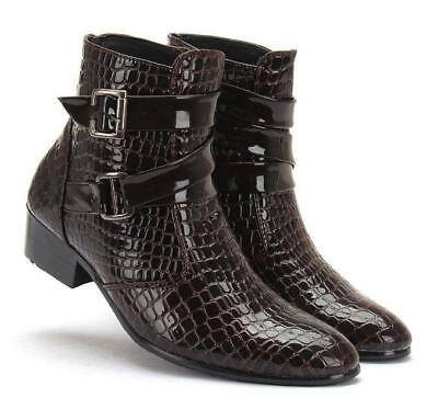 5e78e285d Chic Mens patent leather cowboy zipper pointy Snakeskin dress buckle ankle  boots