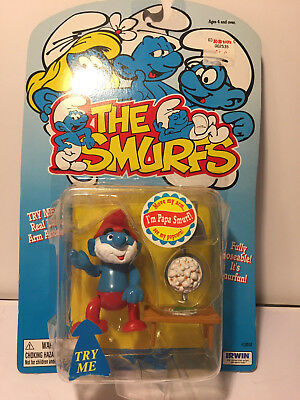 1996 The Smurfs Papa Smurf Figure Real Life Arm Actions
